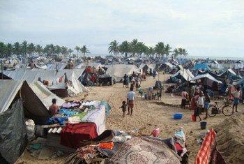 IDP settlement near Putumattalan Hospital in second No Fire Zone, March 2009