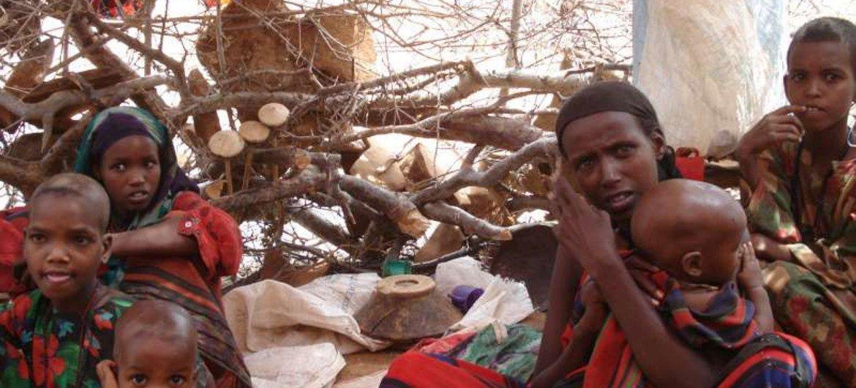 Une famille de réfugiés somaliens dans un abri de fortune dans le camp de Kobe, en Ethiopie.