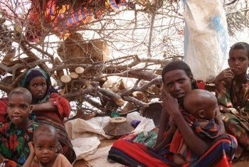 A family of Somali refugees in a makeshift shelter in Kobe camp, Ethiopia