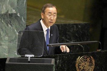 Le Secrétaire général Ban Ki-moon au sommet de l'ONU sur la prévention des maladies non transmissibles.