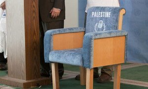 A blue chair symbolizing the Palestinian aspiration to a UN seat