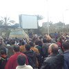 Egyptians protesting in Cairo in January 2011.