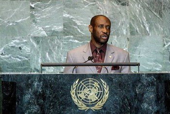 Sam Condor, Minister for Foreign Affairs of Saint Kitts and Nevis, addresses the general debate