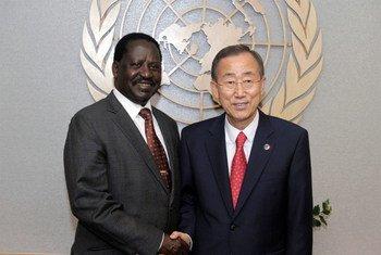 Secretary-General Ban Ki-moon with Prime Minister Raila Odinga  of the Republic of Kenya