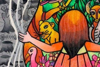 """Ce dessin qui a remporté un concours du Programme des Nations Unies pour l'environnement (PNUE) montre à la fois """"une forêt durable et les causes de la destruction de la forêt""""."""