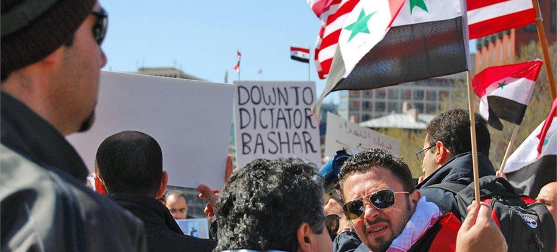 Des manifestants syriens.