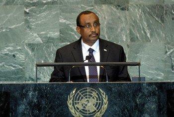 Le Premier Ministre de la Somalie, Abdiweli Mohamed Ali, à la tribune de l'Assemblée générale.