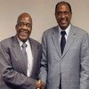UNAIDS Executive Director Michel Sidibé (right) and South African Minister of Health Aaron Motsoaledi