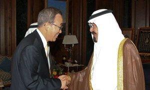 Secretary-General Ban Ki-moon (left), on a June 2008 visit to Saudi Arabia, is greeted by King Abdullah in Jeddah.