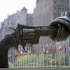 """""""Non-Violence,"""" a sculpture by Karl Fredrik Reutersward, sits permanently outside UN Headquarters in New York"""