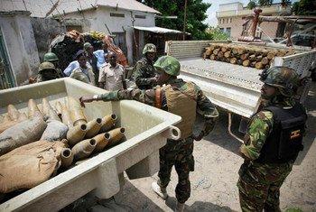 African Union troops in Somalia empty Al-Shabaab munitions cache in Mogadishu.