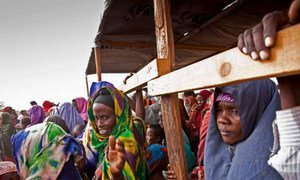 Somali refugees, fleeing fresh violence in their country, queue at a reception centre in Kenya
