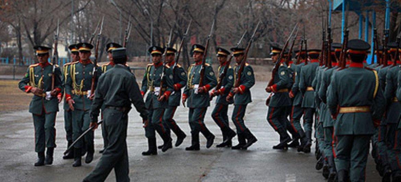Des membres de la police nationale afghane à l'entraînement à Kaboul. Photo MANUA/Eric Kanalstein