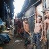 Children in Kallayanpur slum, one of the urban slums in Dhaka, Bangladesh.