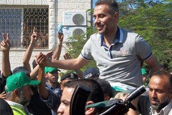 أحد السجناء المحررين في غزة