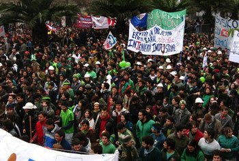 Chilean students during demonstration.