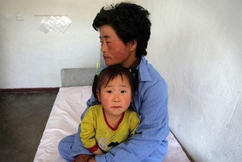 A mother and her child at a UN-supported paediatric hospital in the Democratic People's Republic of Korea.
