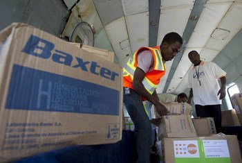 Cholera medicine being sorted for distribution to flood victims in Haiti
