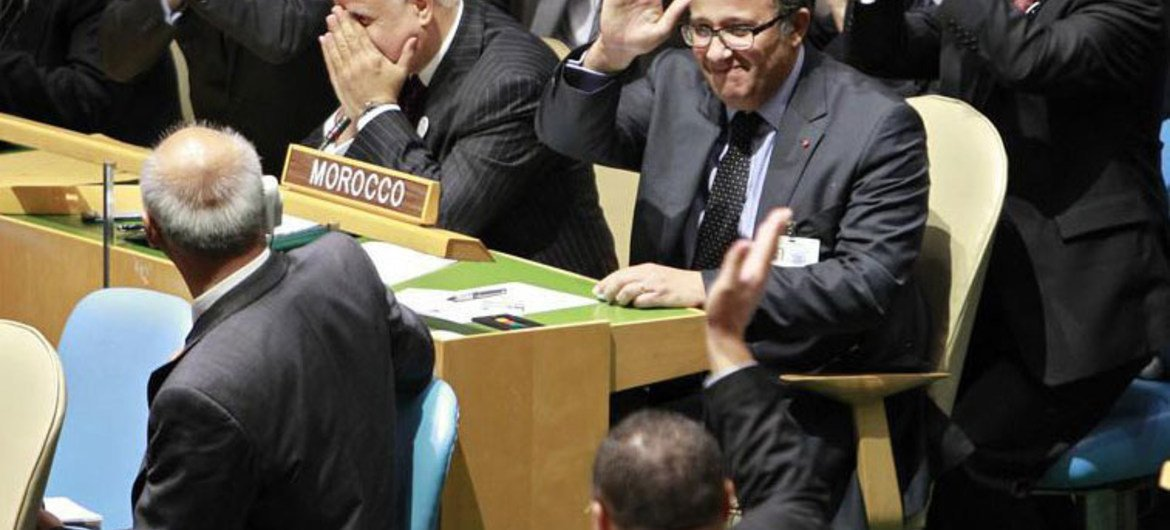 General Assembly delegates applaud Morocco after it was elected as a non-permanent member of the Security Council