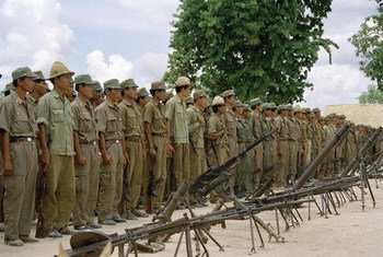 Soldiers of the Cambodia People Armed Forces (CPAF) are cantoned and demobilized as part of Phase Two of the cease-fire in 1992