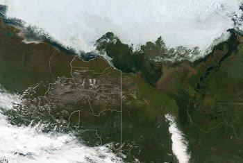 Imagen de satélite del Refugio Nacional de Vida Silvestre del Ártico.