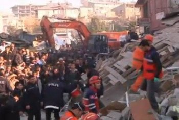 Rescue teams in Turkey continue their search for people trapped under rubble after a strong earthquake on 23 October 2011