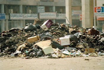 A pile of wreckage left behind in downtown Kuwait after looting and destruction by Iraqi occupation forces in 1991.