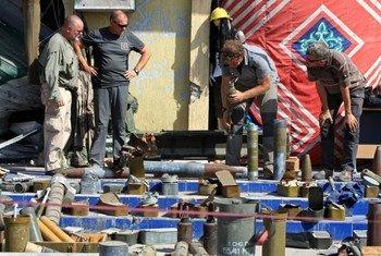 Des armes collectées en Libye après la chute du régime de Mouammar Qadhafi. Photo Giovanni Diffidenti