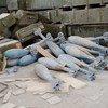 كميات كبيرة من الأسلحة والألغام المتروكة في أطراف طرابلس، ليبيا.