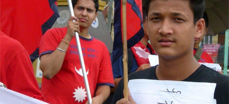 Une manifestation dans les rues de Kathmandou en faveur de la rédaction d'une nouvelle constitution pour le Népal.