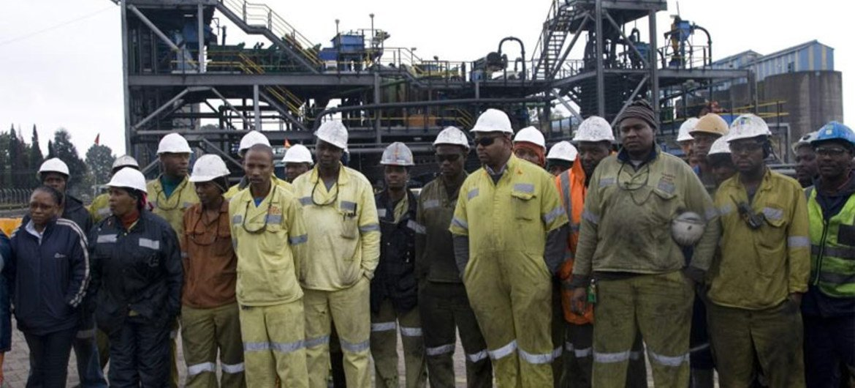 Mineros en Sudáfrica