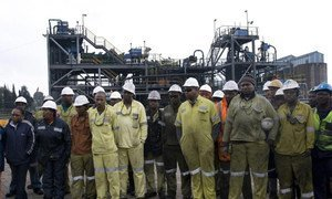 Mine workers at Greenside Colliery, an Anglo American thermal coal mine in South Africa.