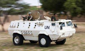 Egyptian peacekeepers with UNAMID on patrol in Um Kadada, North Darfur.