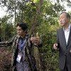 Secretary-General Ban Ki-moon (right) visits an indigenous community affected by deforestation in Indonesia. UN/M. Garten