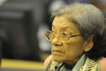 Ieng Thirith appears before the Extraordinary Chambers in the Courts of Cambodia in October 2011 on her fitness to stand trial.