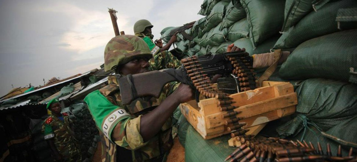 Burundi troops serving with African Union in Somalia in new positions in Deynile on the northernmost outskirts of Mogadishu.