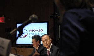 Secretary-General Ban Ki-moon (right) and Under-Secretary-General Sha Zukang at the launch of global conversation ahead of Rio+20