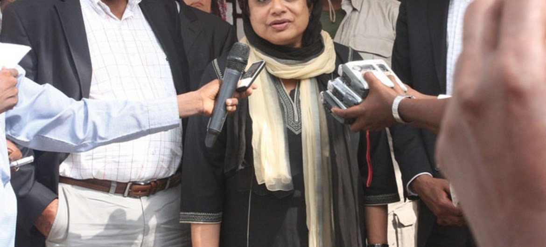 Special Representative Radhika Coomaraswamy speaks to the press in Mogadishu, Somalia