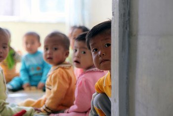 Children at the Provincial Baby Home in DPRK which is supported by UNICEF and WFP