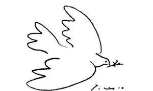 La colombe dessinée par Pablo Picasso. Photo UNRWA