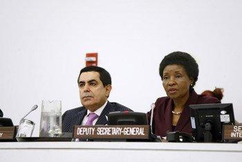 Deputy Secretary-General Asha-Rose Migiro addresses meeting as Assembly President Nassir Abdulaziz Al-Nasser looks on