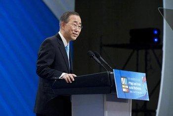 Le Secrétaire général de l'ONU, Ban Ki-moon, lors d'une précédente visite en Corée du Sud, en novembre 2011.