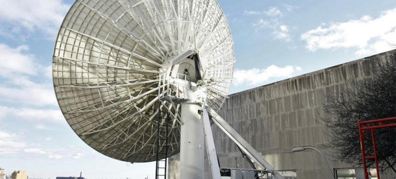 Antena de satélite na sede da ONU em Nova Iorque