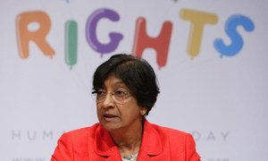 High Commissioner for Human Rights Navi Pillay briefs reporters