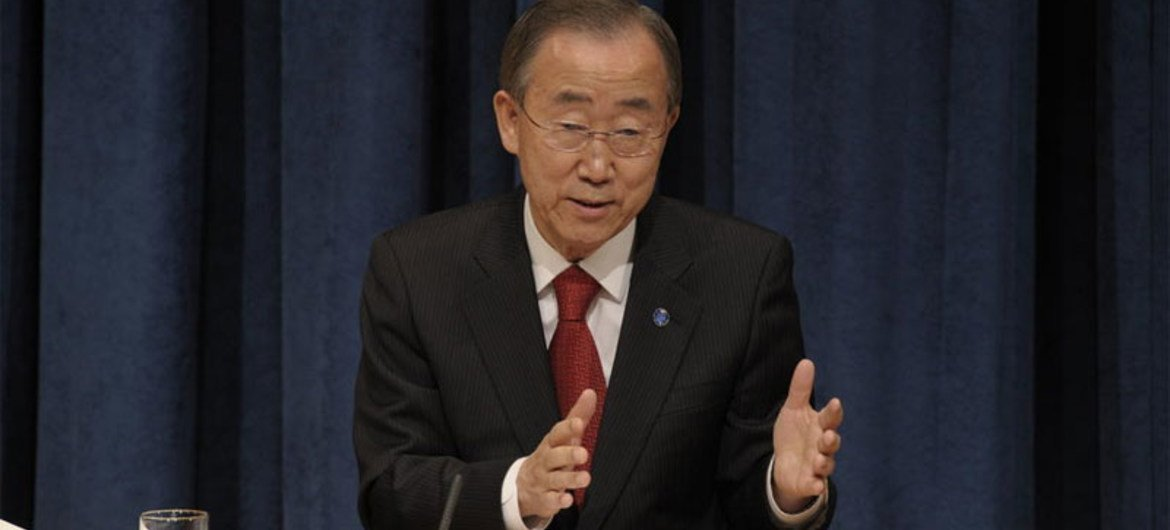 Secretary-General Ban Ki-moon speaking at year-end press conference at UN Headquarters in New York