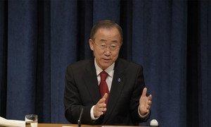 Le Secrétaire général Ban Ki-moon lors de sa conférence de presse de fin d'année à New York.