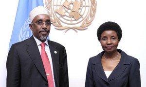 Speaker of Somalia's Parliament Sharif Hassan Sheikh Aden (left) with Deputy Secretary-General Asha-Rose Migiro