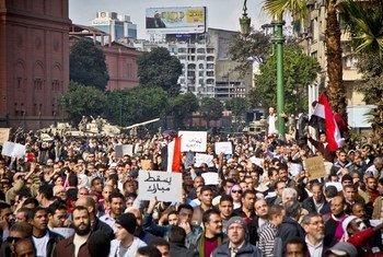 Des manifestants au Caire, Egypte.