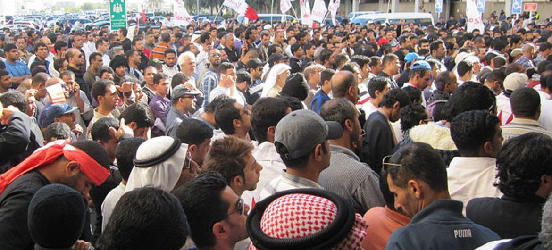 Protesters in Manama, Bahrain.