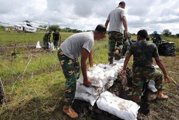 Des casques bleus bangladeshi sont déployés à Likuangole Payan, dans l'Etat de Jonglei, au Soudan du Sud.